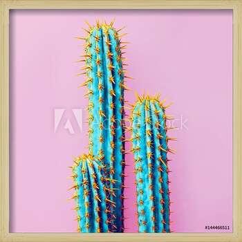 Set Neon Cactus. Minimal creative stillife Uokvirjen plakat