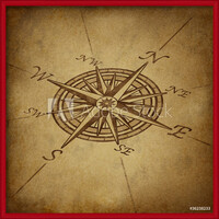 Compass rose in perspective with grunge texture Uokvirjen plakat