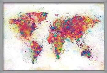 Uokvirjen plakat World Map - Colour Splash