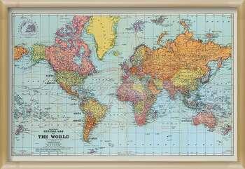Uokvirjen plakat Stanfords General Map Of The World - Colour