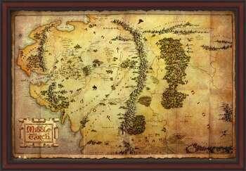 Uokvirjen plakat The Hobbit - Middle Earth Map